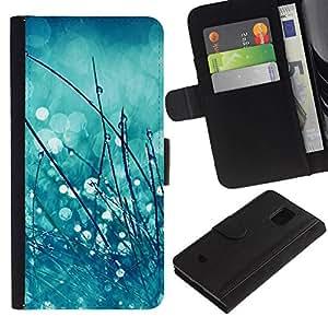 All Phone Most Case / Oferta Especial Cáscara Funda de cuero Monedero Cubierta de proteccion Caso / Wallet Case for Samsung Galaxy S5 Mini, SM-G800 // rocío de la primavera gotas de lluvia borrosa verde menta