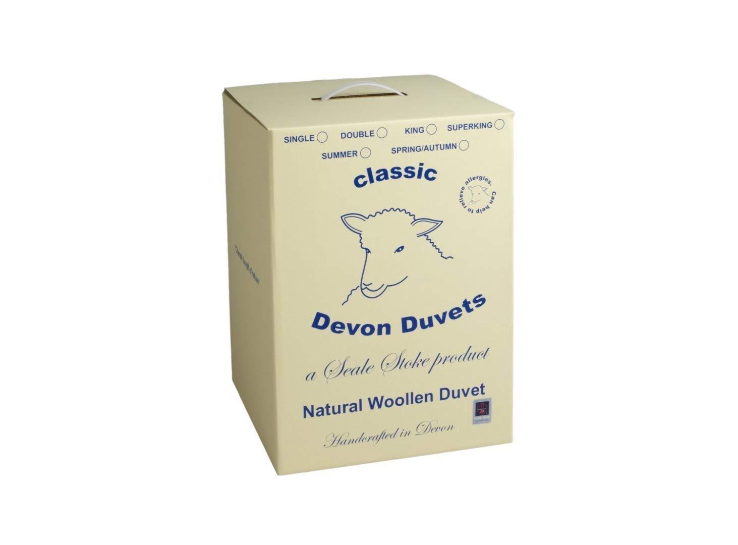 Devon Bettdecken – British Handarbeit Natur Joppe (Wolle) Bettdecke Sommer Leicht 300 GSM (Super King 260 x 220 cm)