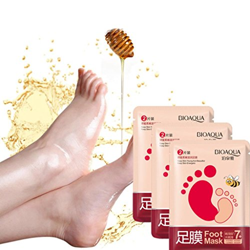Foot Mask, Hatop 3 Pack Exfoliating Peel Off Foot Mask Baby Soft Feet Remove Callus Hard Dead Skin