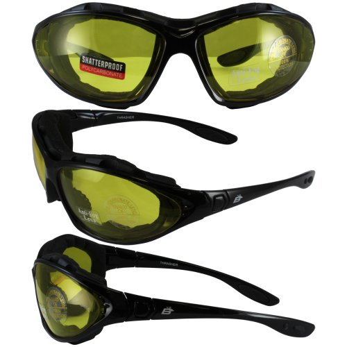 Birdz Eyewear Thrasher Padded Motorcycle Glasses-Convert-to-Goggles (Black Frame/Yellow Lens)