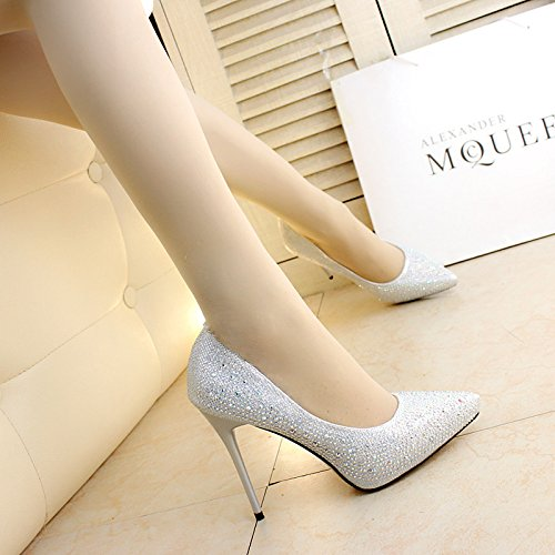 MDRW Fine Silver Shoes Elegant High Pointed Leisure All Wedding With Spring Work Lady Shoes Match Heeled Shoes Shoes 36 11Cm Rhinestones rxpzHqrnwF