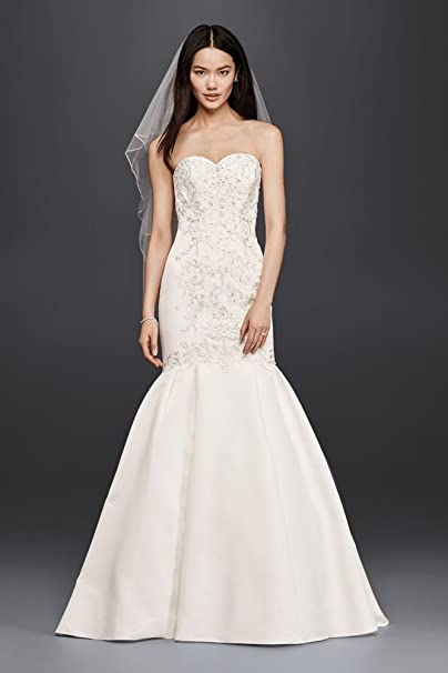 David S Bridal Petite Size Trumpet Wedding Dress With Fitted Lace