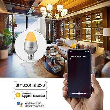 Koogeek Natale E27 8W Dimmerabile Wi-Fi Smart LED Lampadina compatibile con Alexa Apple HomeKit e lassistente Google Nessun hub richiesto Controllo remoto Controllo vocale RGB light bulb