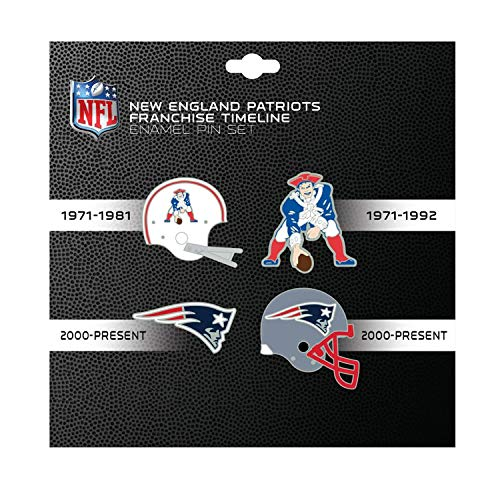 (NFL New England Patriots Sports Team Logo 4 Pin Set Franchise Timeline Collectible Throwback)