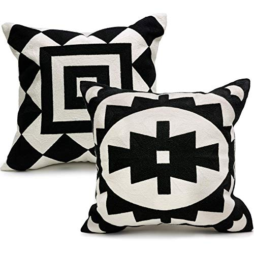 Ekka Moderna Black and Beige Decorative Pillows Covers ONLY - Embroidered Throw Pillow Covers Set of 2 18x18 inches for Couch, Sofa, Living Room, Bed (And Cream Bed Sets Black)