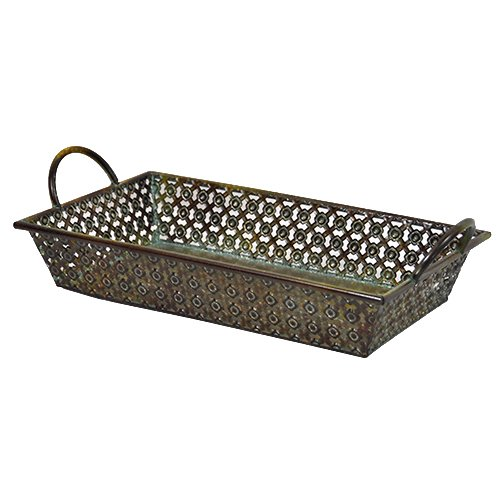 The Lucky Clover Trading Antique Criss Cross Metal Tray Basket