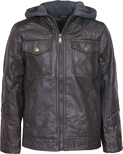 Urban Republic Boys Faux Leather Jacket With Fleece Hoodie, Dark Brown, Size 14/16' (Puffy Jacket Layer)