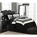 Chic Home 10-Piece Duke-Pieced Color Block Bed in A Bag Comforter Set, Queen, Black
