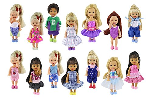 - ZITA ELEMENT Lot 6 PCS Fashion Clothes Outfit for Girl's Sister Kelly Doll