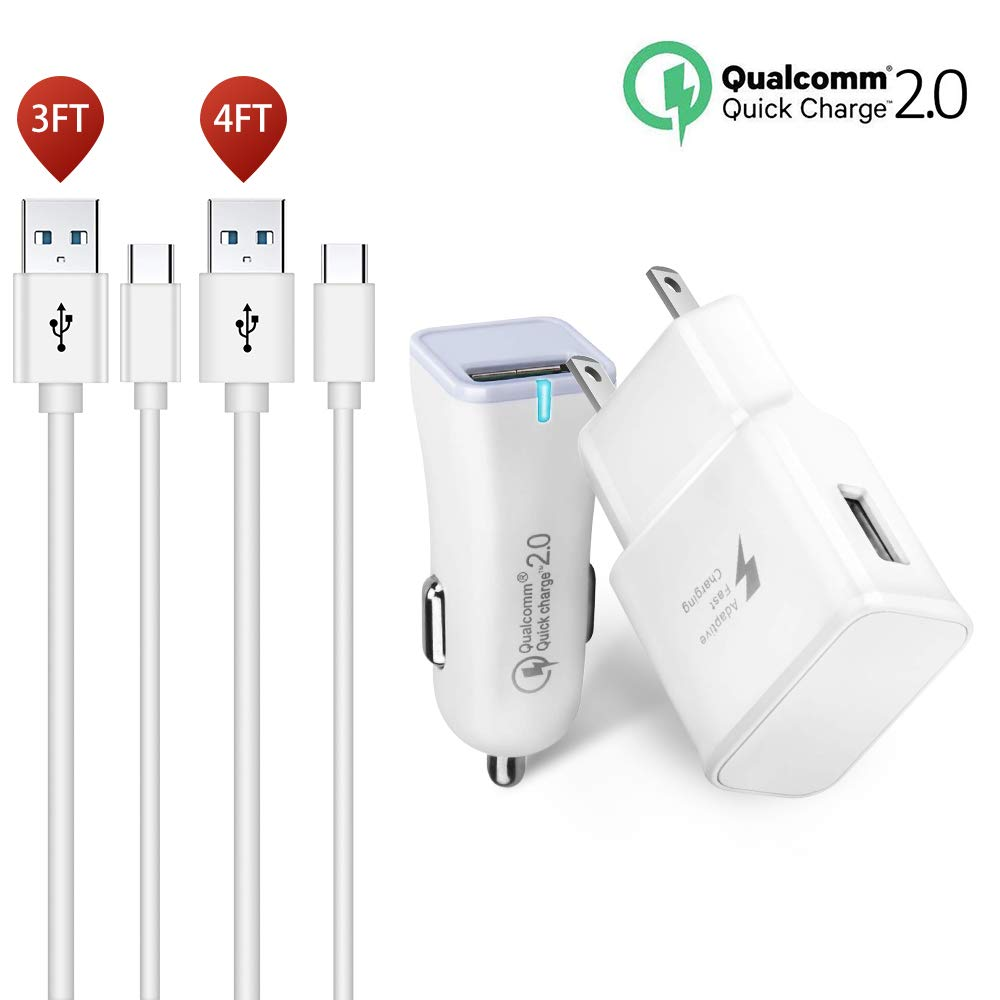 Fast Charge Adaptive Fast Charger Kit,Travel Charger USB 2.0 Adaptive Fast Charging True Digital for Samsung Galaxy S6 Galaxy S7 S7 Edge Note 4,S3,Honor Lite 10,Moto G5 and More (S7 Fast Charger Set) by Axmda