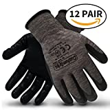CustomGrips Cut Resistant Work Gloves. Span-Nylon Polyester Liner, Level 4 Abrasion Resistance, Nitrile Foam Palm Coated. Superior Breathability & Grip for All Day Comfort. [Large, 12 Pairs]