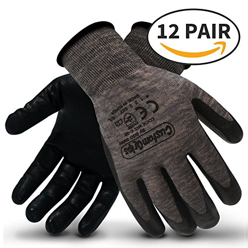 CustomGrips Cut Resistant Work Gloves. Span-Nylon Polyester Liner, Level 4 Abrasion Resistance, Nitrile Foam Palm Coated. Superior Breathability & Grip for All Day Comfort. [Large, 12 Pairs] by CustomGrips