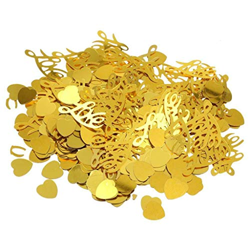 Wedding Heart/Star Table Confetti Foil Decoration Birthday Party Confetti Supply |Color - Gold Love Letter Hearts|