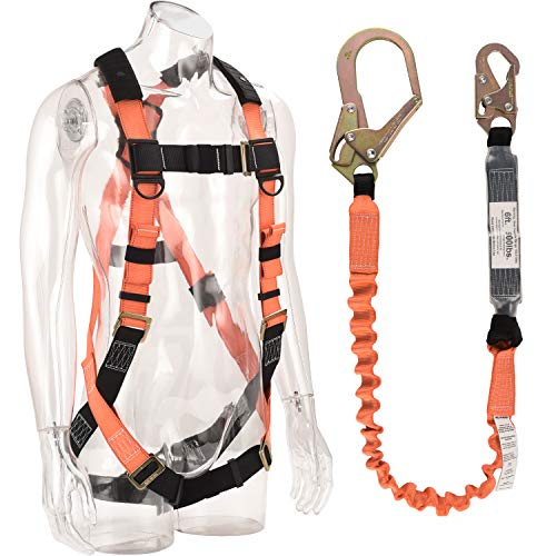 WELKFORDER 1 D-Ring Industrial Fall Protection Safety Harness Kit with Single Leg 6-Foot Shock Absorber Stretchable Lanyard [1 Snap&1 Rebar Hook] ANSI Compliant Personal Fall Arrest - Safety Harness D-ring