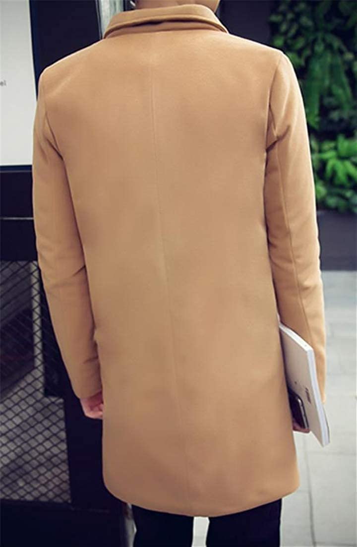Conffetti Mens Woolen Stand Collar Mid-Long Outerwear Single Breasted Vogue Autumn Winter Outwear