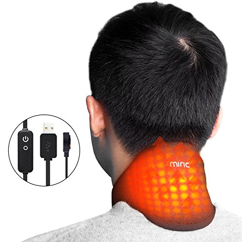 Miric Neck warmer Graphene Far infrared heating pad portable warmer for neck,Fatigue reducer,Beauty (Gold Infrared Heating Pad)