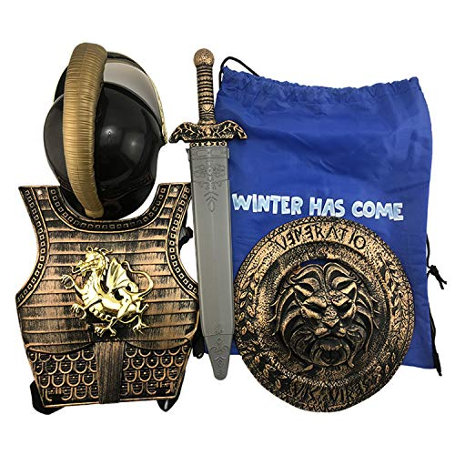 Kid's Sparta Knight Suit Costume for Boys Wear Armor Dragon Warfare Roman Warrior Set Stage Cosplay (Bronze)