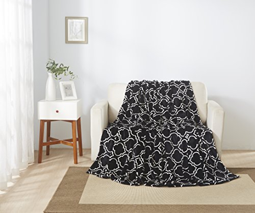 All American Collection New Super Soft Printed Moroccan Trellis Throw Blanket (Queen Size, Black)