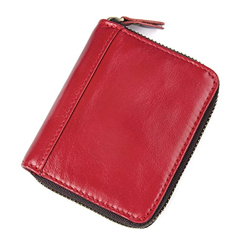 HASFINE RFID Blocking Multi Credit Cards Holder Genuine Leather Compact Accordion Zipper Wallet for Women (Red)
