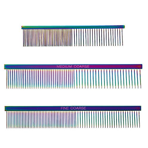 Rainbow Color Greyhound Combs for Dog Grooming Tools 3 Size Sets Available Too(All 3 Rainbow Combs)