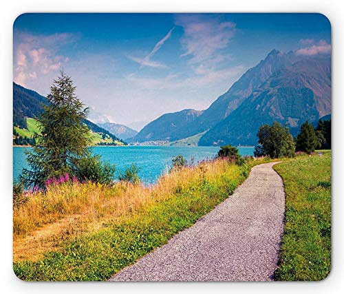 (Landscape Mouse Pad, Bicycle Path Around Resia Lake Italian Alps Colorful Summer Morning Idyllic Scene, Standard Size Rectangle Non-Slip Rubber Mousepad, Multicolor)