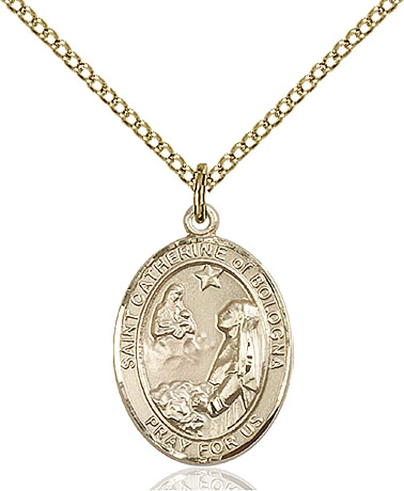 Catherine of Bologna Pendant Gold Filled Lite Curb Chain Patron Saint Artists//Liberal Arts 3//4 x 1//2 14kt Gold Filled St