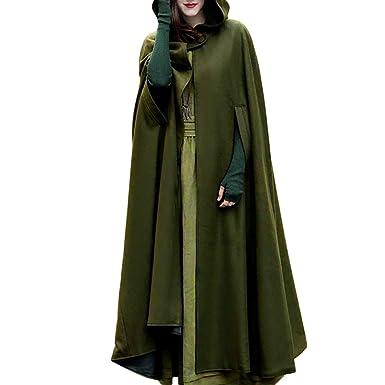 0a744339bcf Auwer Women Trench Coat Batwing Cape Wool Poncho Jacket Warm Cloak Coat Hood  (S