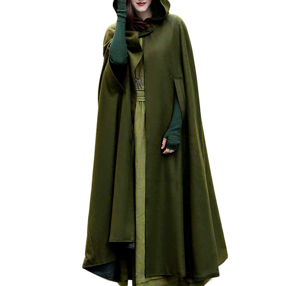 Halloween Cosplay Costumes Party Capes Unisex Christmas Day Hooded Cloak Medieval Cape (Army Green B, L)