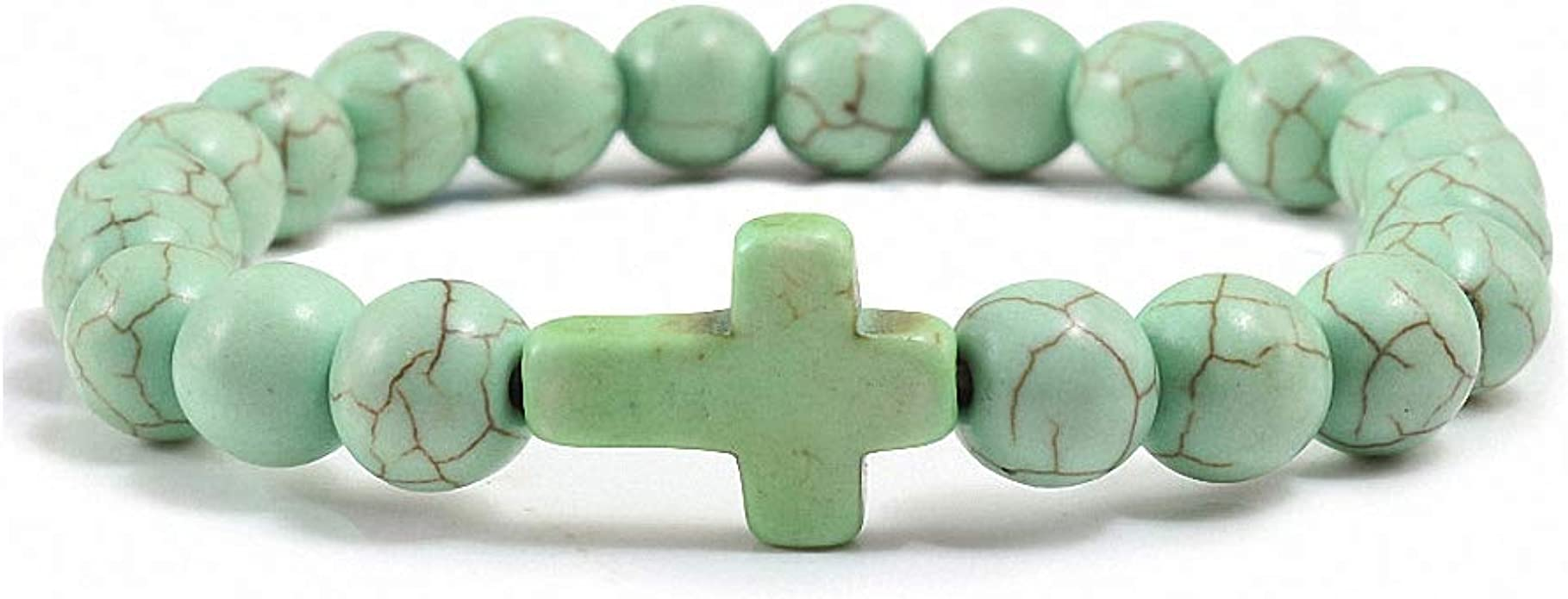 Dangle Cross Charms Gold Charm Bracelet Gemstone Bracelet Layered Bracelets Natural Stone Bracelet