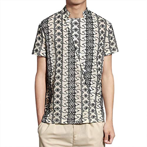 (Men's Boho Simple Casual Fashion Top, MmNote Soft Lightweight Breathable LooseHipster Classic Print Short Sleeve Beige)