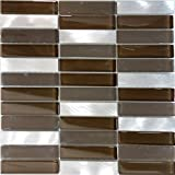 Modket TDH220MO Modern Brown Crystal Glass Blended Metallic Aluminum and Matted Glass Mosaic Tile Backsplash