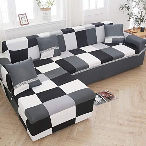 UKURO Geometric Printed Sofa Covers Universal L-Shaped Sofa Cover Elastic Sectional Couch Cover Living Room Furniture Slipcovers