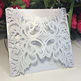 Anself 20Pcs Lace Wedding Party Invitation Card for Bridal Shower Birthday, Square