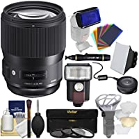 Sigma 135mm f/1.8 ART DG HSM Lens with USB Dock + 3 UV/CPL/ND8 Filters + Flash + Soft Box + Diffuser + Kit for Nikon Digital SLR Cameras