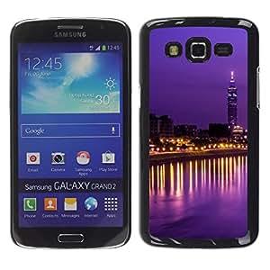 LECELL--Funda protectora / Cubierta / Piel For Samsung Galaxy Grand 2 SM-G7102 SM-G7105 -- City Lights Tower Sky Scraper Night --