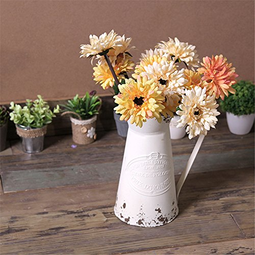Vancore Shabby Chic Large Metal Jug Flower Pitcher Vase Available In