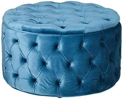 Christopher Knight Home Living Zuma New Velvet Ottoman Aqua , Baby Blue