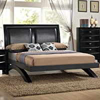 Roundhill Furniture Blemerey 110 Wood Arch-Leg Bed, Queen, Black