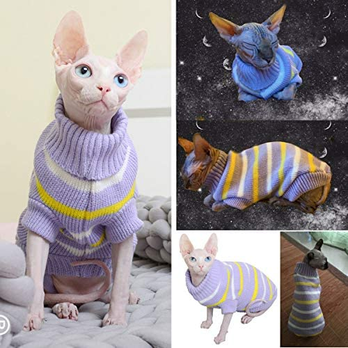 Bonaweite Hairless Cats Stripe Vest Turtleneck Sweater, Breathable Adorable Cat Wear Shirt Clothes, Cat's Pajamas Jumpsuit for Sphynx, Cornish Rex, Devon Rex, Peterbald 24