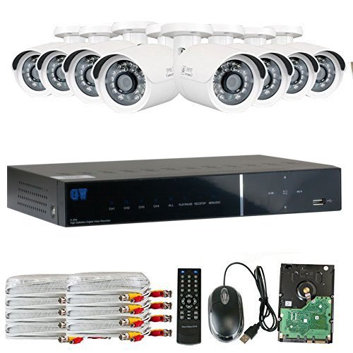 GW Security 8CH HD DVR Security System, QR-Code Connection, 8 Day Night 1600TVL High Resolution Weatherproof Bullet Cameras CCTV Surveillance System 2TB HDD