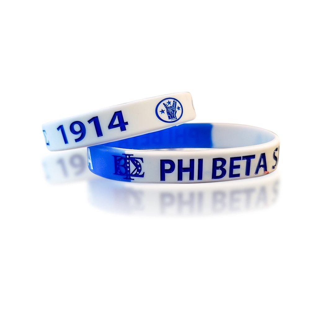 GREEKIN ' It Phi Beta Sigma Fraternityシリコンブレスレット – ロイヤルブルーとホワイトブレスレット(2 per pack)   B07F224Y7T