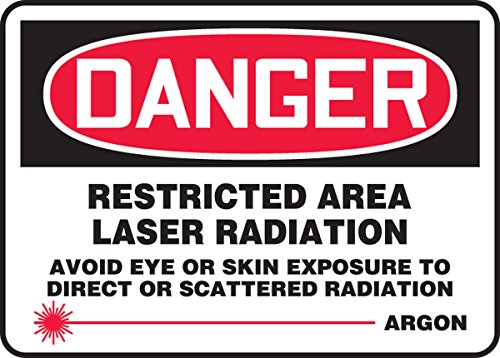 Accuform Restricted Area Laser Radiation Avoid Eye OR Skin Exposure to Direct OR Scattered Radiation Argon (W/Graphic) (