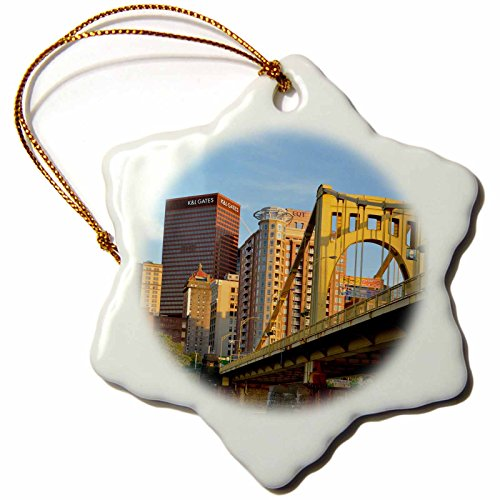 3dRose Danita Delimont - Architecture - USA, Pennsylvania, Pittsburgh. Andy Warhol Bridge - 3 inch Snowflake Porcelain Ornament (orn_231569_1) (Andy Warhol Ornaments)