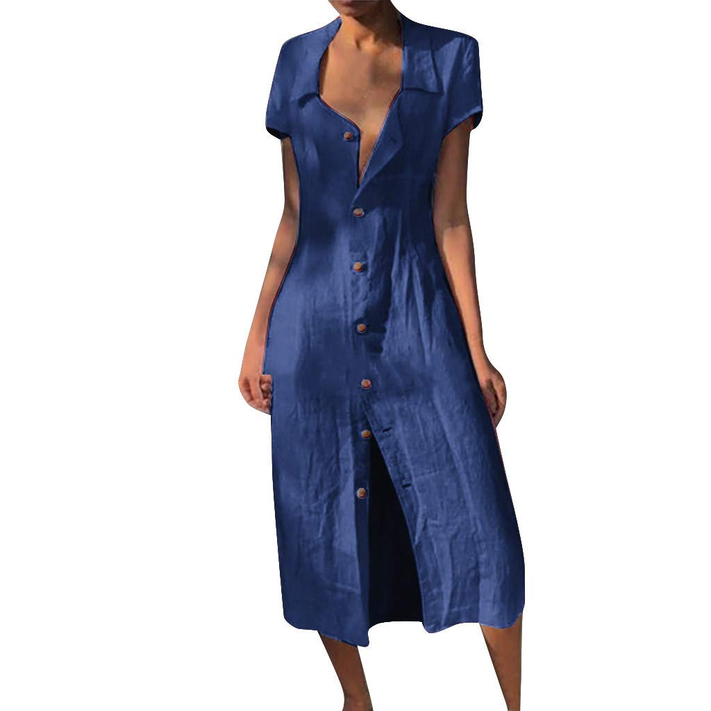 ⚡HebeTop⚡ Womens Button Down V Neck Roll Up Short Sleeve Casual Long Maxi Dresses Blue by ▶HebeTop◄➟HOT SALES