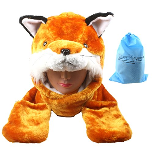 [Silver Fever Plush Soft Animal Beanie Hat with Built-in Earmuffs, Scarf, Gloves (Fox)] (Fox Hat Costume)