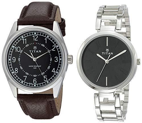 Titan Analog Black dial Couple #39;s Watch  1729SL02+NK2480SM02