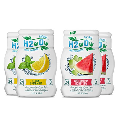 - H2wOw Liquid Water Enhancer Drops - ORGANIC & Natural Extracts of Real Fruit - a Hint of Organic Stevia - Makes 768 oz of Delicious Watermelon Honeydew and Lemon Spearmint Flavored Water
