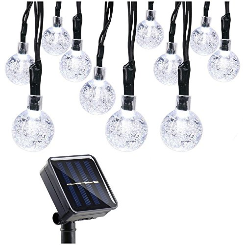 Qedertek Solar String Lights, 20ft 30 LED Outdoor Solar Lights, 8 Modes Crystal Ball Fairy Lights Waterproof Globe String Lights for Home, Patio, Lawn, Garden, Party and Holiday Decorations(White)