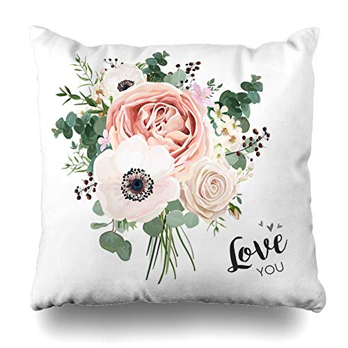 (Alfredon Throw Pillow Cover Mix Flower Bouquet Floral Bunch Boho Peach Creamy Pale White Pink Anemone Poppy Rose Berry Eucalyptus Pillowcase Square Size 20 x 20 Inches Zippered Home Decor Cushion Case)