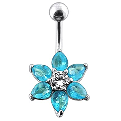 Atoz Piercing Fancy Flower 925 Sterling Silver With Stainless Steel Belly Button Rings